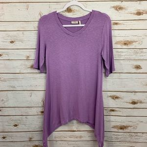 LOGO By Lori Goldstein V Neck Purple Blouse S
